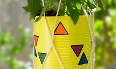 Decoração com vaso de lata reutilizada